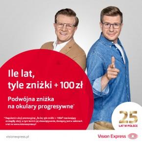 """Ile lat, tyle zniżki + 100 zł"""" – kultowa promocja ponownie w salonach Vision Express!"""